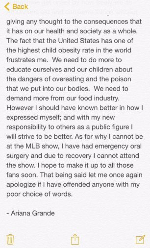 Ariana Grande's tweeted statement. Photo Credit: Ariana Grande